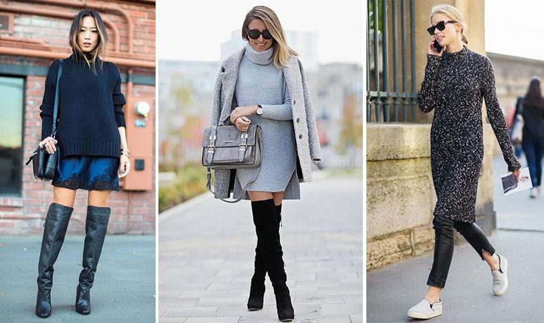 Φορέστε ένα αέρινο φόρεμα με πουλόβερ και ψηλές μπότες // Ένα πλεκτό φόρεμα δένει απόλυτα με καλσόν και μπότες μέχρι το γόνατο // Συνδυάστε το φόρεμά σας με ένα δερμάτινο παντελόνι