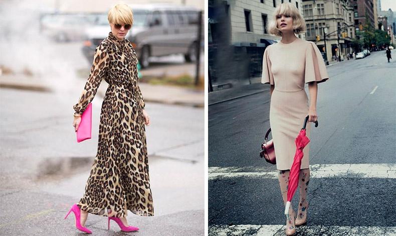 Ταιριάξτε ένα φόρεμα με εντυπωσιακά print, όπως τα λεοπάρ με φούξια αξεσουάρ // Συνδυάστε ένα θηλυκό φόρεμα με ένα πολύχρωμο καλσόν