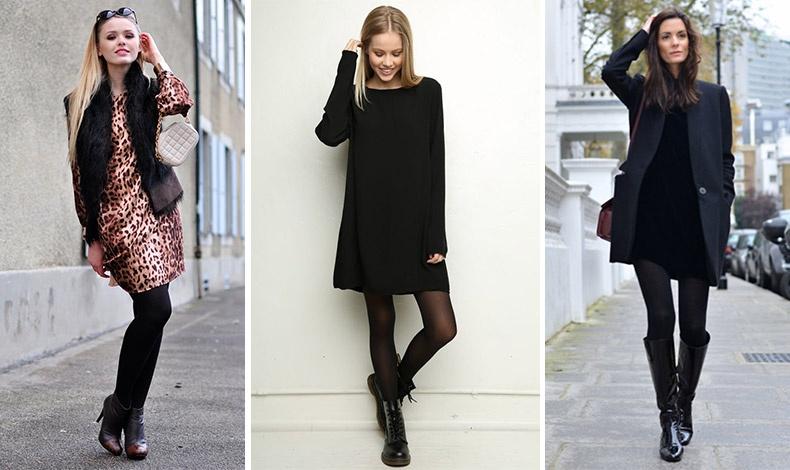 Το κολάν κάτω από φόρεμα λειτουργεί είτε ως καλσόν είτε ως παντελόνι // Ένα μακρυμάνικο φόρεμα με μαύρο καλσόν // Ένα μαύρο βαμβακερό φόρεμα αποκτά χειμωνιάτικη διάσταση με μαύρες μπότες