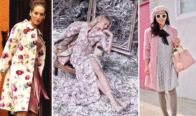 Επιλέξτε ένα πανωφόρι με λουλούδια ή ένα χνουδωτό πάνω από το φόρεμά σας για απόλυτα θηλυκή εμφάνιση