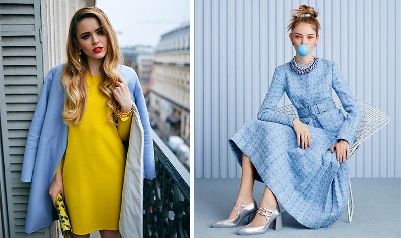 Δημιουργήστε ενδιαφέροντες χρωματικούς συνδυασμούς, όπως το γαλάζιο με το κίτρινο // Ταιριάξτε ένα γαλάζιο φόρεμα με ασημί παπούτσια και αξεσουάρ
