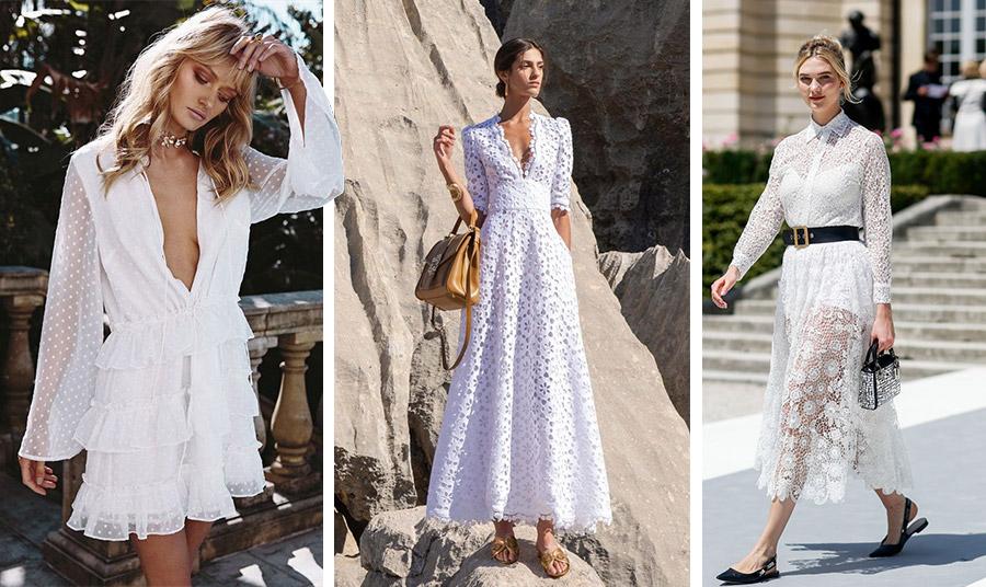 Τα λευκά φορέματα δεν λείπουν ποτέ από τη γυναικεία γκαρνταρόμπα της άνοιξης και του καλοκαιριού. Μίνι, μίντι ή μάξι και ειδικά με διαφάνειες και δαντέλα δίνουν μία ρομαντική ή και διακριτικά σέξι νότα στην εμφάνισή μας