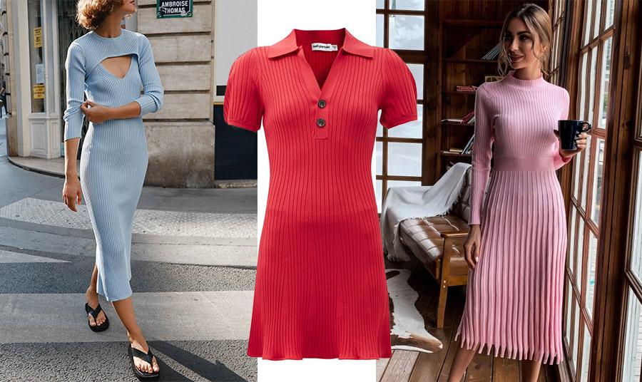 Θυμηθείτε ότι η ριμπ πλέξη είναι πολύ της μόδας, οπότε και ένα ριμπ φόρεμα επίσης! Ένα μακρύ γαλάζιο ή ένα πλισέ σούπερ κομψό σε παστέλ ροζ; Αλλά και ένα μίνι κόκκινο, με πόλο γιακαδάκι, Self Portrait