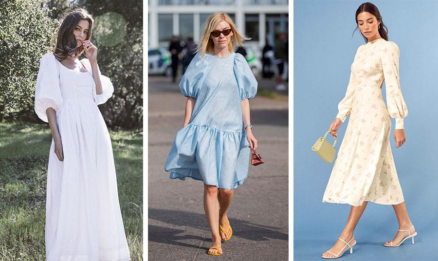 Ένα λευκό μακρύ φόρεμα με φουσκωτά μανίκια είναι τέλειο για μία ρομαντική εμφάνιση από το πρωί έως το βράδυ // Αν είστε αρκετά ψηλή και λεπτή μην φοβηθείτε ένα φόρεμα με όγκους // Μία κομψή επιλογή και για το γραφείο είναι ένα φόρεμα σε μίντι μήκος με διακριτικούς όγκους