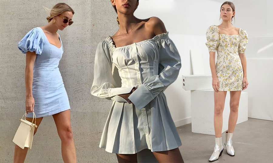 Αν η σιλουέτα σας το επιτρέπει, επιλέξτε ένα μίνι φόρεμα με puff sleeves