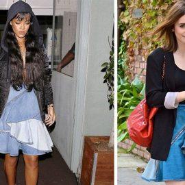 Η Rihanna και η Lily Collins με τζιν ασύμμετρη φούστα με βολάν και τον προσωπικό τους τρόπο να τη φορέσουν