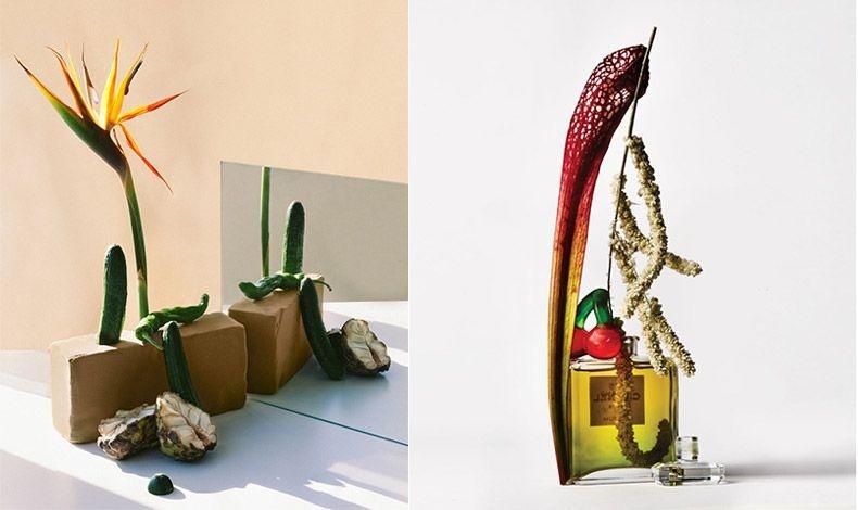 Εντυπωσιακό λουλούδι πουλί του παραδείσου σε συνδυασμό με αγγουράκια και πράσινη καυτερή πιπεριά σε μία πλίνθο // Σαρακένια και αμάρανθος, με ένα μπουκάλι αρώματος Chanel Νο. 5