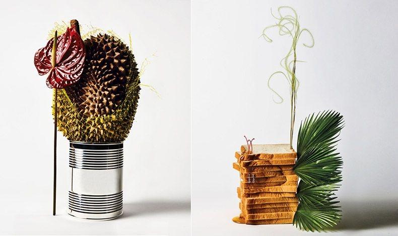 Ανθούριο και ντουριάν (το εξωτικό φυτό με τη? δυσοσμία!) σε ένα ασημένιο βάζο του καφέ Tiffany & Co // Πρωτέα, χλόη και μινιατούρα φοίνικα με διαμαντένια σκουλαρίκια De Beers, καρφωμένα σε φέτες ψωμιού του τοστ