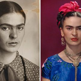 Frida Kahlo, περίπου το 1926. Museo Frida Kahlo. © Diego Riviera and Frida Kahlo Archives, Banco de México // Η Frida Kahlo με μπλε σατέν μπλούζα, 1939. (Φωτ.: Nickolas Muray © Nickolas Muray Photo Archives)