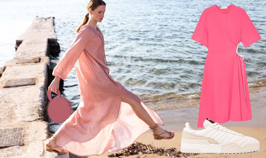 Προτιμάτε ένα ανάλαφρο παστέλ καφτάνι ή ένα ζωηρό ροζ απλό αλλά με σέξι λεπτομέρειες φόρεμα (όπως τα ροζ που εντυπωσίασαν από το See by Chloé) με λευκά sneakers (adidas by Alexander Wang) για τις βόλτες στην παραλία;