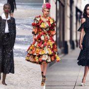 Φτερά και γυαλιστερές λεπτομέρειες, από την πασαρέλα άνοιξη-καλοκαίρι 2019, Chanel // Η απόλυτη υπερβολή των λουλουδιών συνδυασμένα με χρυσά ψηλοτάκουνα πέδιλα, από την πασαρέλα άνοιξη-καλοκαίρι 2019, Dolce & Gabbana // H θηλυκότητα και κομψότητα, όπως εκφράζεται με ένα ασπρόμαυρο πουά φόρεμα