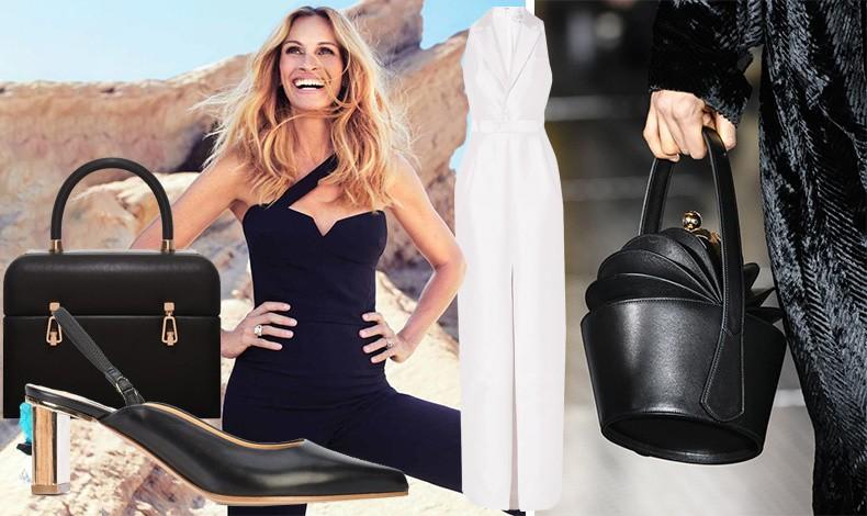 Η φετινή τετράγωνη τσάντα Cline Patsy και παπούτσι με στολισμένο τακούνι // Η Τζούλια Ρόμπερτς με δημιουργία της Gabriela Hearst στο εξώφυλλο του Harper's Bazaar Νοέμβριος 2018 // Μεταξωτή λευκή φόρμα από τη φετινή συλλογή // Επίδειξη μόδας φθινόπωρο 2017