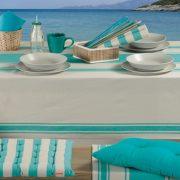 Η σειρά Veta- Turquoise της Nef Nef Homeware μας ταξιδεύει στη μεσογειακή θάλασσα! Τραπεζομάντηλο, σε τρεις διαστάσεις: (140x140εκ.) 17,00?, (140x180εκ.) 19,50? και (140x240εκ.) 26,00?, Σουπλά σετ 2 τμχ 7,00?, Runner, 6,50?, Mαξιλάρι καρέκλας, 10,90? και διακοσμητικό, 11,90?, Mαξιλάρα δαπέδου, 21,00?. Όλα από 100% βαμβάκι