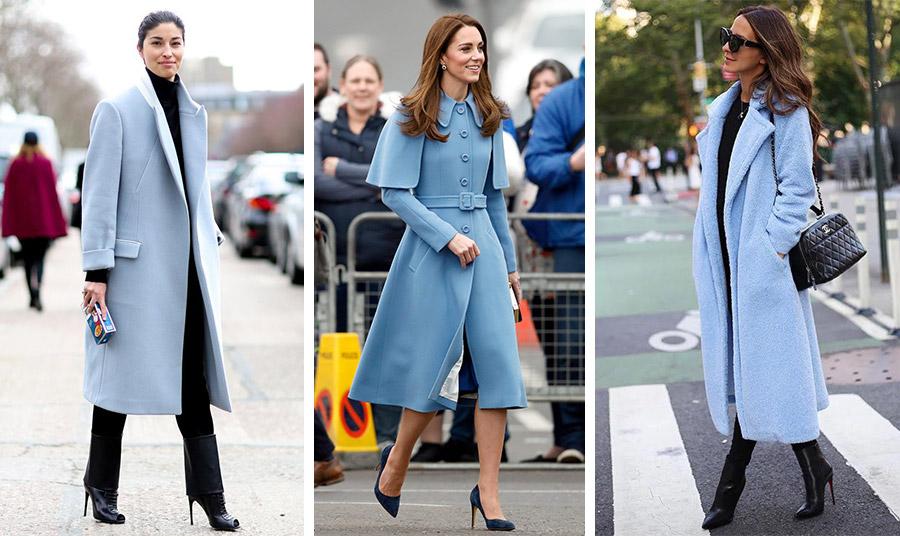 Μοναδική κομψότητα με ένα γαλάζιο παλτό και μαύρα όλα τα υπόλοιπα ρούχα // Η Κέιτ Μίντλετον με μία μοναδικής γαλάζιας απόχρωση και στιλ γκαμπαρντίνα και ψηλές γόβες // Ένα είδος παλτό, το χνουδωτό «Teddy coat» σε γαλάζιο με μαύρα ρούχα και αξεσουάρ