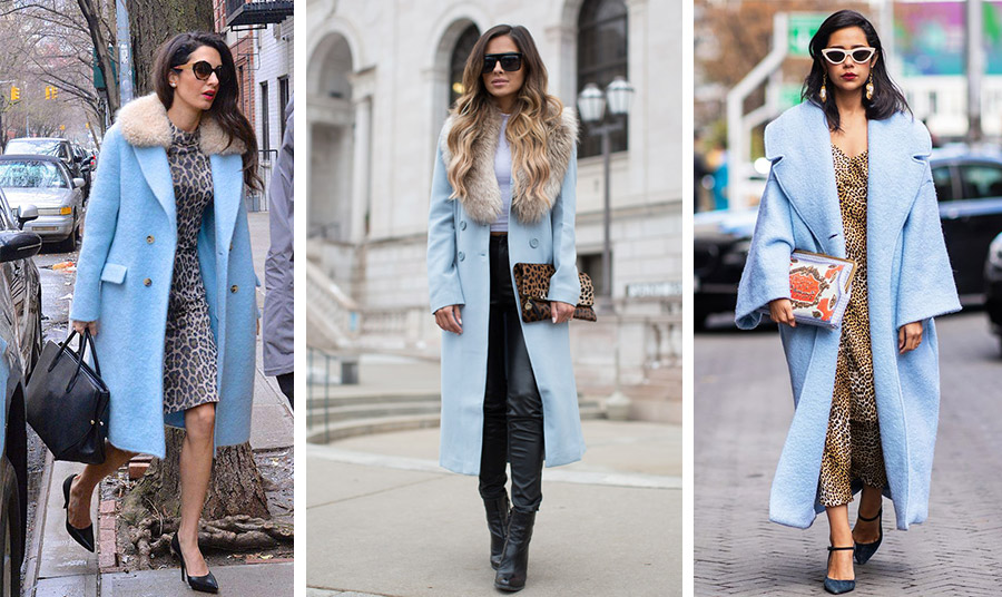 Γαλάζιο παλτό με λεοπάρ, συνδυασμός φίνος και ιδιαίτερος. Η Αμάλ Κλούνεϊ με φόρεμα λεοπάρ και παλτό με γούνινο γιακά // Ένα γαλάζιο πολυτελές παλτό με γούνινο γιακά συνδυάζεται με μαύρο δερμάτινο παντελόνι και λεοπάρ τσάντα // Μάξι λεοπάρ, μάξι παλτό…