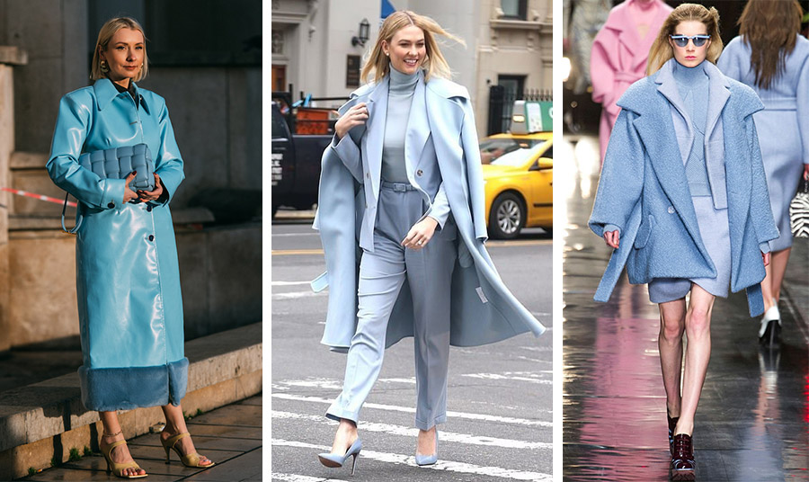Μία γαλάζια μονοχρωμία! Δερμάτινο παλτό με γούνινες λεπτομέρειες και ασορτί τσάντα δημιουργούν ένα πολυτελές σύνολο // Η Κάρλι Κλος με layrering γαλάζιας μονοχρωμίας // Φορέστε το και με κοστούμι και ζιβάγκο για όλη την ημέρα