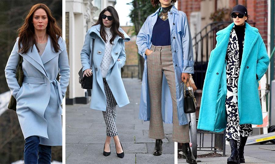 Τα πολλά «πρόσωπα» ενός γαλάζιου παλτό! Σε wrap γραμμή για την Έμιλυ Μπλαντ και casual εμφάνιση // Συνδυασμένο με καρό παντελόνι και λευκό πουλόβερ // Μία ελαφριά γκαμπαρντίνα με σκούρο μπλε λεπτό πλεκτό και καρό σε γήινες και γαλάζιες αποχρώσεις παντελόνι // Σε έντονη απόχρωση γούνα με graphic ασπρόμαυρα