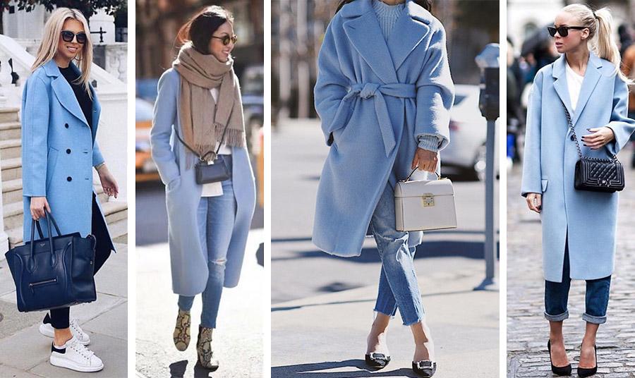 Γαλάζιο παλτό και τζιν: Επιλογές πολλές και για τα παπούτσια σας, από sneakers και μπότες λεοπάρ μέχρι φλατ και ψηλές γόβες