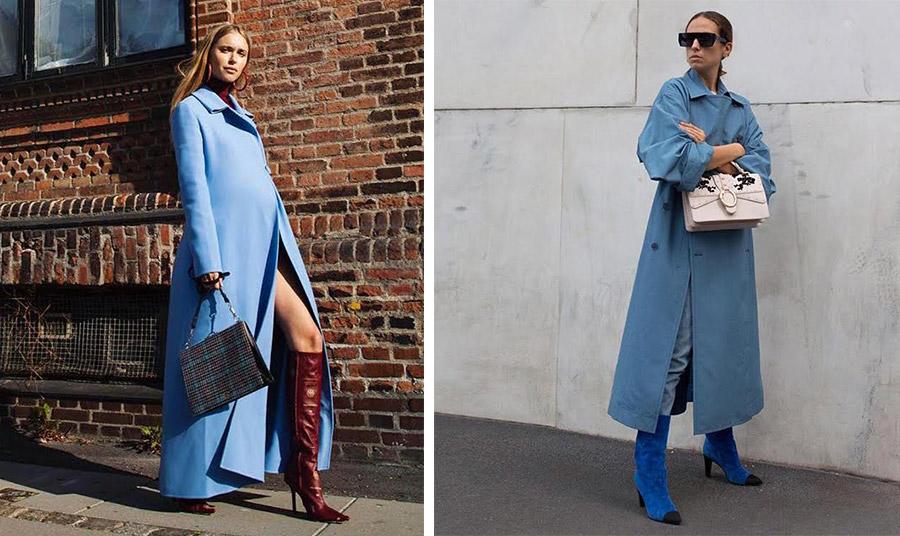 Εντυπωσιακό μάξι γαλάζιο παλτό σε συνδυασμό με μπορντό μπότες // Γαλάζια γκαμπαρνίνα με σουέντ μπλε ελεκτρίκ μπότες