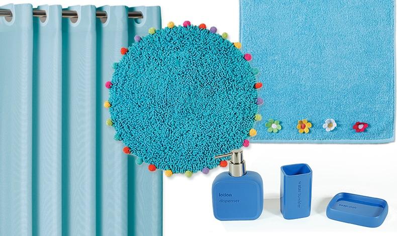 Όταν η Νef Nef Homeware εμπνέεται από τις αποχρώσεις του νερού για το μπάνιο μας! Κουρτίνα μπάνιου με πλαστικούς ενσωματωμένους κρίκους και μαγνήτες στις κάτω άκρες, 11,90? // Tαπέτο Fun, 22,00? // Πετσέτες κεντητές από 100% βαμβάκι σετ 3τμχ 34,00? // Αξεσουάρ Bath: Δοχείο κρεμοσάπουνου 12,00?, Ποτήρι για οδοντόβουρτσες 7,50? Σαπουνοθήκη 9,50?