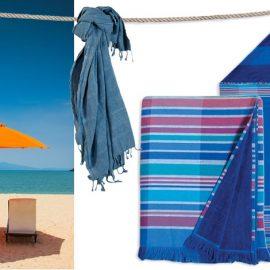 Στην παραλία Denim Pestemal πετσέτες θαλάσσης 100% βαμβάκι με κρόσια (90x170εκ.), 27,00? // Swim Blue Pestemal πετσέτες θαλάσσης παρεό με κρόσσια διπλής όψης (πετσετέ ύφασμα) (100x180εκ.) 29,00? από 100% βαμβάκι