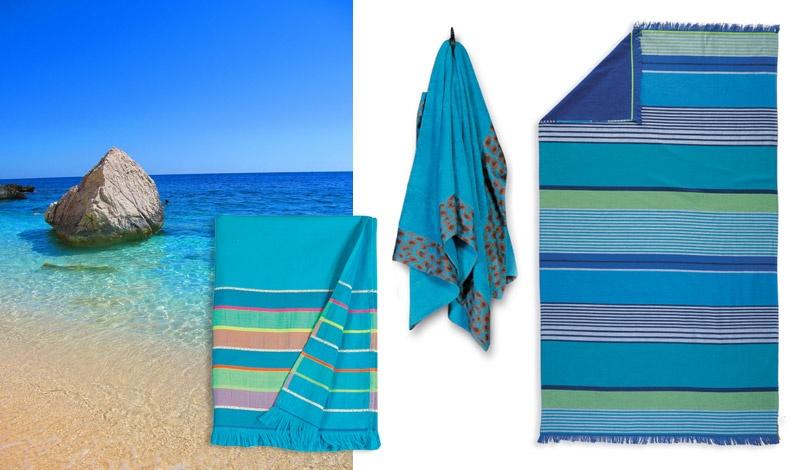 Με φόντο το γαλάζιο των ελληνικών θαλασσών! Delight Pestemal πετσέτες θαλάσσης παρεό με κρόσσια διπλής όψης (πετσετέ ύφασμα), 29,00? // Βαμβακερές πετσέτες θαλάσσης φροτέ, 49,00? // Sunday Blue Pestemal πετσέτες θαλάσσης παρεό με κρόσσια διπλής όψης (πετσετέ ύφασμα), 29,00?. Όλα 100% βαμβάκι και διαστάσεις100x180εκ.
