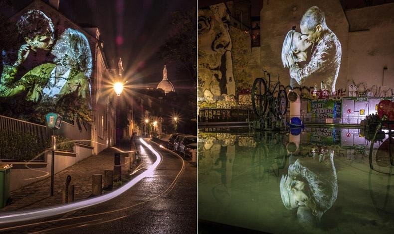 Colombe και Maxime σε ένα φιλί με πάθος και φόντο στο βάθος η εκκλησία Sacr? Coeur στη Μονμάρτη // Εstelle και William προβάλλονται σε έναν τοίχο της γαλλικής πρωτεύουσας