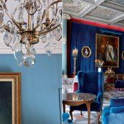 Λεπτομέρεια από ένα από τα σαλόνια υποδοχής // Το μεγάλο σαλόνι με βαρύτιμα έπιπλα, πίνακες και ζωγραφιστά ταβάνια