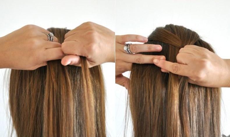 Προτιμήστε να μην είναι φρεσκολουσμένα τα μαλλιά και αρχικά χωρίστε τα σε τρία ίσα μέρη από την κορυφή του κεφαλιού