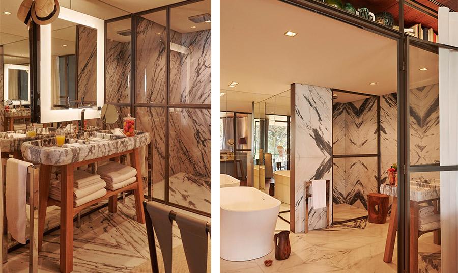 Η πολυτέλεια και οι τεράστιοι χώροι κυριαρχούν και στα μπάνια των δωματίων