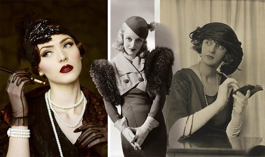 Τα flapper κορίτσια του 1920 φορούσαν τα γάντια, τις πέρλες και κρατούσαν την μακριά πίπα τους! // Ντίβα του 1930 // Μακριά λευκά γάντια όπερας, 1920
