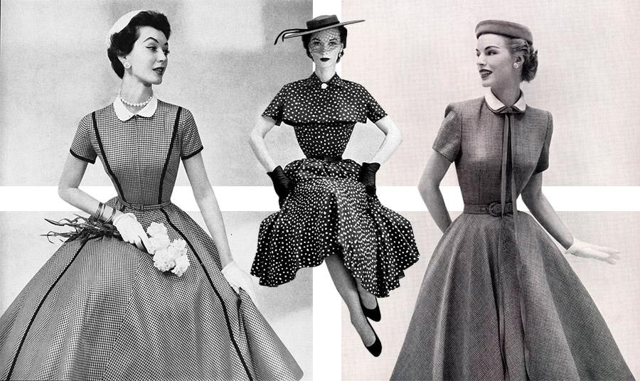 Από φωτογράφηση μόδας του περιοδικού Vogue, 1954 // Πουά φόρεμα και μαύρα γάντια, 1950 // Φωτογράφηση, 1952
