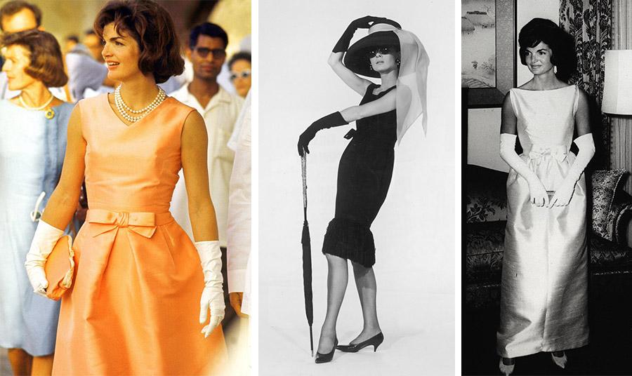 Η Τζάκι Κένεντι με τα λευκά γάντια της που δεν παρέλειπε από τις εμφανίσεις της (φωτο 1 και 3) // Η ηθοποιός Όντρεϊ Χέπμπορν με total look Givenchy και μαύρα γάντια που ξεπερνούν τους αγκώνες και συνδυάζονται με το μικρό μαύρο φόρεμα