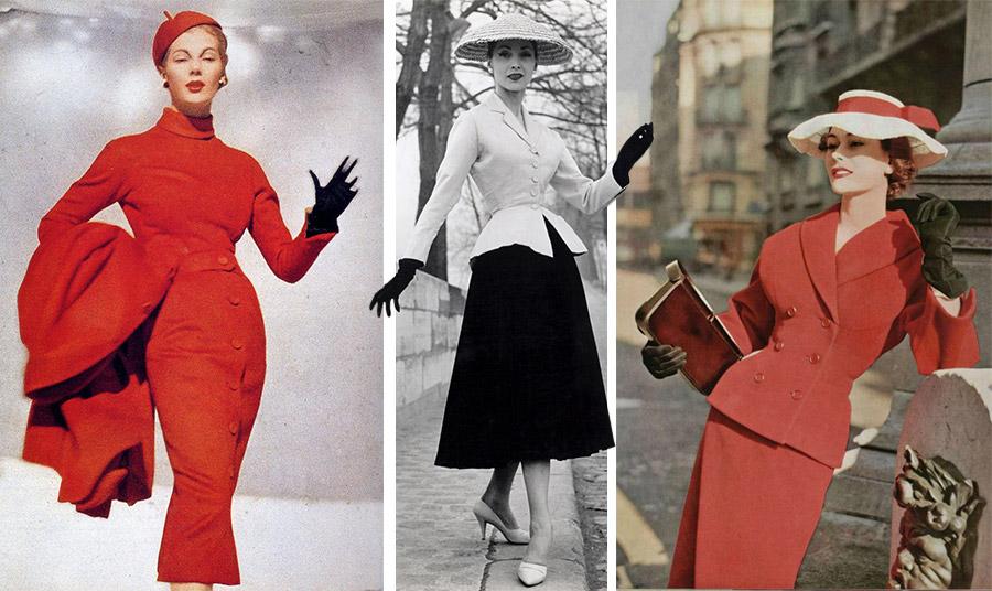 Όλο το New Look του Christian Dior βασίστηκε σε θηλυκές λεπτομέρειες όπως τα γάντια (τέλη δεκαετίας '40- αρχές δεκαετίας '50)