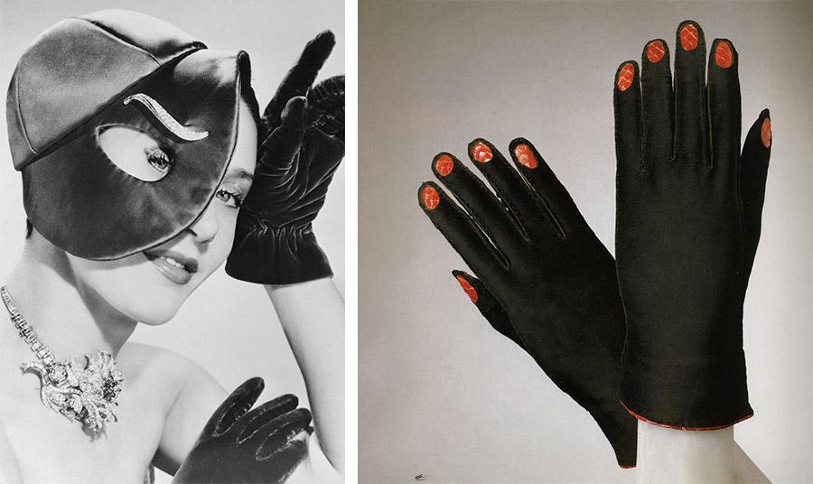 Η θρυλική σχεδιάστρια Elsa Schiaparelli, δεκαετία 1920 // Γάντια με την υπογραφή της Elsa Schiaparelli, κοντό ζευγάρι με απλικαρισμένες ραφές και ζωγραφισμένα με κόκκινο νύχια, 1936