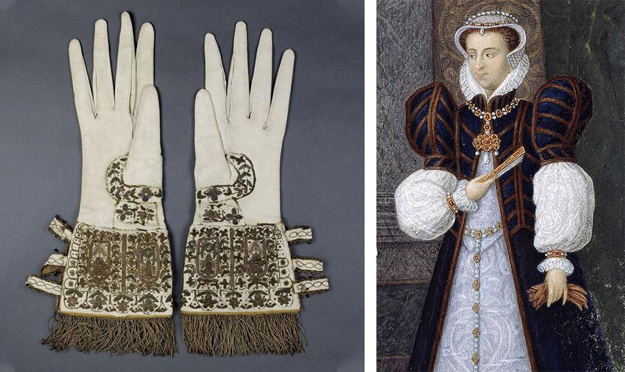 Γάντια της βασίλισσας Ελισάβετ A' της Αγγλίας , 16ος αιώνας- Heritage Images/ Getty Images // Πορτρέτο της Αικατερίνης των Μεδίκων, που φαίνεται να κρατάει στο αριστερό της χέρι τα γάντια της. Σε αυτή οφείλεται η καθιέρωση των αρωματισμένων γαντιών