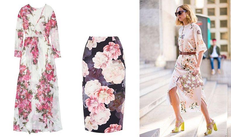 Μακρύ φόρεμα, Fashion Junkee // Μακριά φούστα με εντυπωσιακά λουλούδια, Oasis // Όταν φοράμε λουλουδάτα μοτίβα κρατάμε τα αξεσουάρ σε ήπια χρώματα