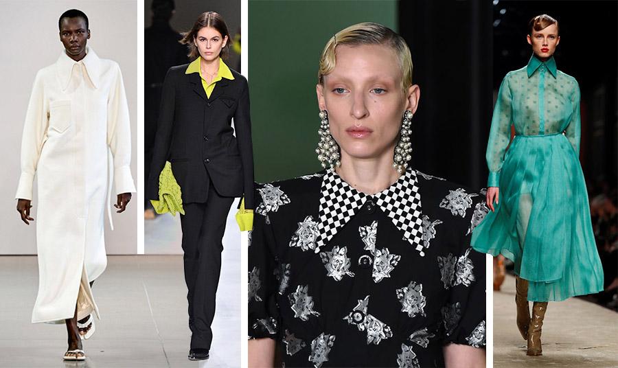 Γιακάδες που αναβιώνουν τη δεκαετία του '70. Από τις κολεξιόν φθινόπωρο 2020 – χειμώνας 2021: Γιγαντιαίοι γιακάδες στο λευκό παλτό, Thornton Bregazzi // Η Kaia Gerber με ένα slim line μαύρο κοστούμι και λαχανί πουκάμισο με πολύ μακριά μανσέτες αναβιώνει το Saturday Night Fever στην πασαρέλα Bottega Veneta // Δύο σε ένα! Μυτεροί γιακάδες με το μοτίφ του καρό-σκακιέρα Erdem // Διαφάνεια και υπέροχο κομψό στιλ και χρώμα, Fendi