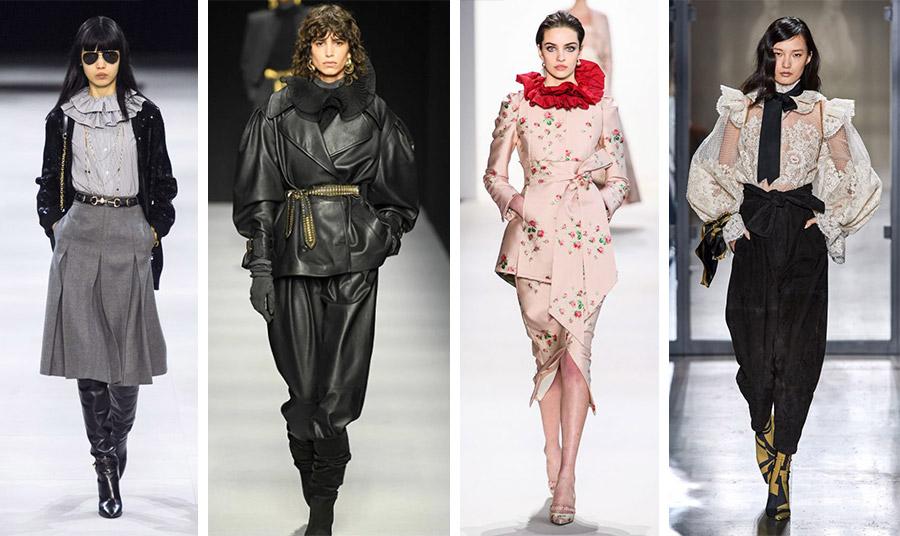 Γιακάς με μεγάλα βολάν, Celine // Βολάν και διαφάνεια μέσα από δέρμα, Alberta Ferreti // Εντυπωσιακά βολάν και κομψότητα, Brock // Βολάν σε κεντημένο πουκάμισο και ένας μεγάλος μαύρος φιόγκος, Zimmermann