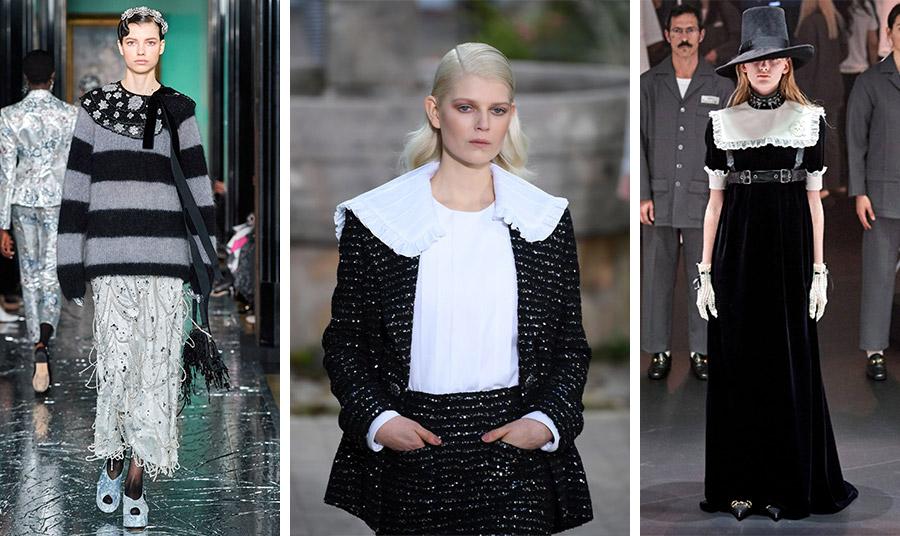 Tα τεράστια περιλαίμια που παραπέμπουν σε άλλες εποχές έχουν την τιμητική τους για τη φετινή σεζόν: Κεντημένο, Edem // Υπερβολικό κολάρο πάνω από το τουίντ σακάκι, Chanel // Μαύρο μακρύ φόρεμα με λευκές λεπτομέρειες και μεγάλο περιλαίμιο, Gucci
