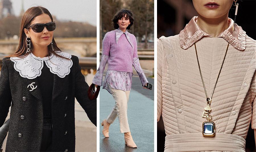 Ρομαντικός γιακάς με κοφτό σχέδιο από τη συλλογή Chanel // Φορέστε τους άκρως μυτερούς γιακάδες και τις μακριές μανσέτες στα πουκάμισα // Οι γιακάδες από καπιτονέ είναι επίσης της μόδας