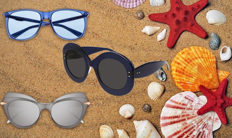 Λαμπερό μπλε-γαλάζιο, Gucci // Σε σκούρο μπλε με χοντρό σκελετό, Alaia // Σε πολύ ιδιαίτερο ματ γκρι και σχήμα πεταλούδας, Pomellato