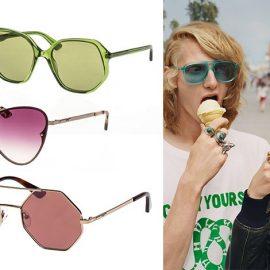 Πράσινα πολυγωνικά γυαλιά, Gucci // Πολυγωνικά με χρυσό λεπτό σκελετό, McQ // Με τριγωνικό σκελετό και ροζ φακούς, McQ // Από την καμπάνια για το καλοκαίρι του 2018, Gucci