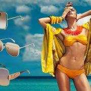 Πολυγωνικά γυαλιά με λεπτό σκελετό, Gucci // Εντυπωσιακά γυαλιά σε χρυσαφί απόχρωση, Alexander McQueen // Γυαλιά μάσκα με εντυπωσιακούς «κεντημένους» βραχίονες, Pomellato