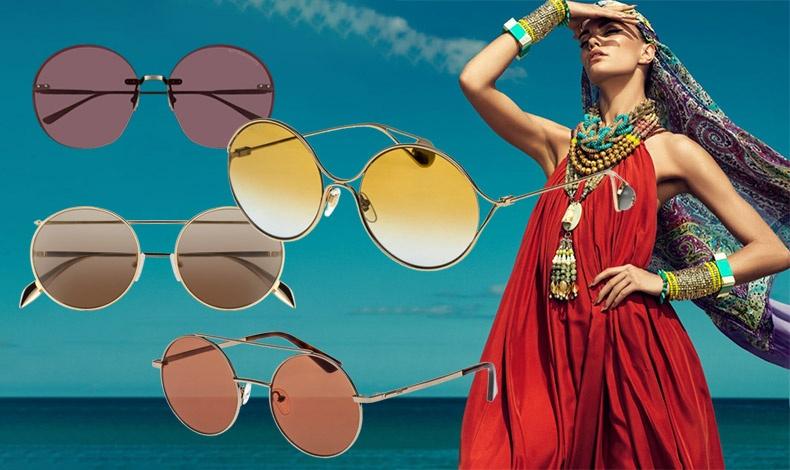 Boho chic ή ροκ διάθεση; Τα γυαλιά με στρογγυλούς φακούς και λεπτούς σκελετούς δίνουν το στίγμα! Με μοβ φακούς, Bottega Veneta // Σε λαμπερό κίτρινο, Gucci // Στο χρώμα της άμμου, Alexander McQueen // Πορτοκαλί φακοί, Gucci