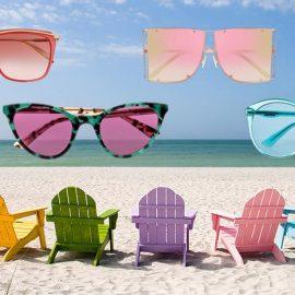 Το πάνθεον των χρωμάτων! Σε λαμπερό κόκκινο με μία πινελιά χρυσού, Alexander McQueen // Συνδυασμός πράσινου με μοβ φακούς, McQ // Ντεγκραντέ ροζ-χρυσό, Puma Eyewear // Σε έντονο γαλάζιο, Gucci