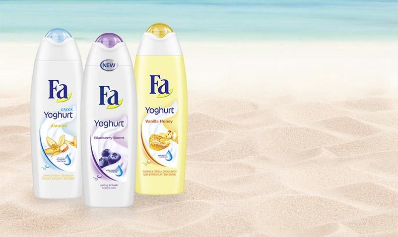Και τα τρία είναι υπέροχα: Greek Yoghurt,  Yoghurt Vanilla Honey, Refreshing Yoghurt and Blueberry scent, όποιο κι αν διαλέξετε από τη συλλογή των αφρόλουτρων Fa θα απολαύσετε το μπάνιο ή το ντους σας!