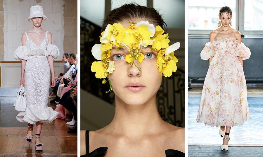 Θηλυκότητα, δαντέλες, τούλια, κρύσταλλοι μα πάνω από όλα τα λουλούδια τόσο στα φλοράλ ρούχα, όσο και στα πρόσωπα των μοντέλων ήταν ο ύμνος στη γυναικεία φύση από τον Giambattista Valli για τη σεζόν που έρχεται