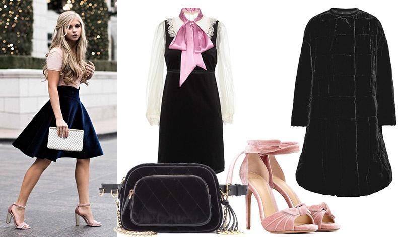 Το βελούδο μπορεί να δώσει μία ρομαντική και θηλυκή αίσθηση στο στιλ σας // Φόρεμα βελούδο με δαντέλα και ροζ σατέν φιόγκο, Gucci // Tσάντα, Prada // Βελούδινο παλτό, Ιsabel Marant // Ροζ βελούδινα πέδιλα, Alexandre Birman
