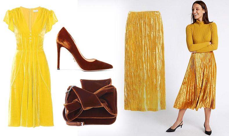 Βελούδινο φόρεμα σε λαμπερό κίτρινο, Altuzarra // Σοκολατί γόβα, Prada // Εντυπωσιακή  τσάντα σε σοκολά χρώμα, No21 // Μακριά πλισέ φούστα, Miu Miu // Συνδυάστε τη βελούδινη φούστα με ένα απλό κασμιρένιο πουλόβερ